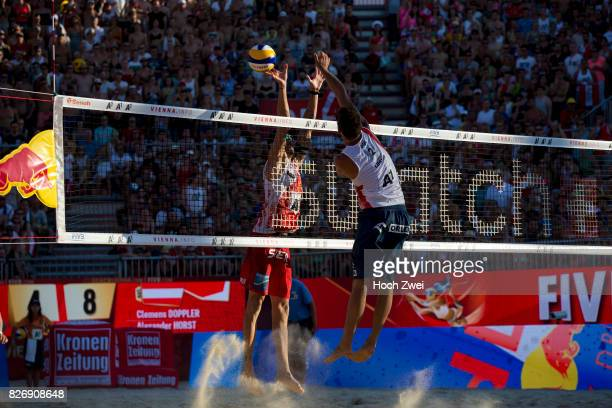 Clemens Doppler of Austria competes against Bartosz Losiak of Poland during Day 9 of the FIVB Beach Volleyball World Championships 2017 on August 5...