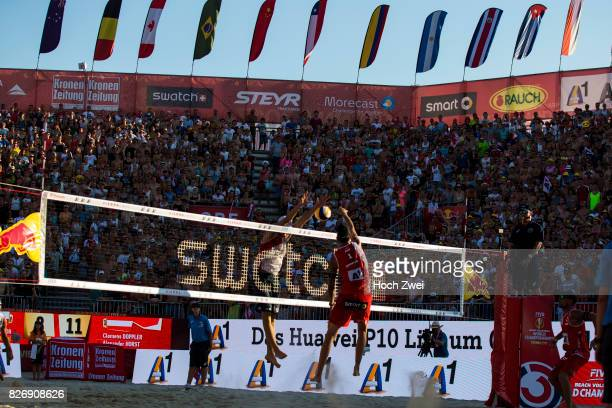 Clemens Doppler of Austria in action during Day 9 of the FIVB Beach Volleyball World Championships 2017 on August 5 2017 in Vienna Austria