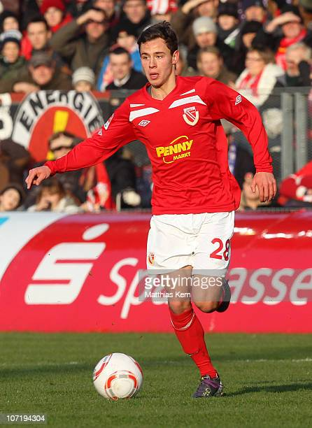Clemens Fandrich of Cottbus runs with the ball during the Second Bundesliga match between FC Energie Cottbus and Erzgebirge Aue at Stadion der...