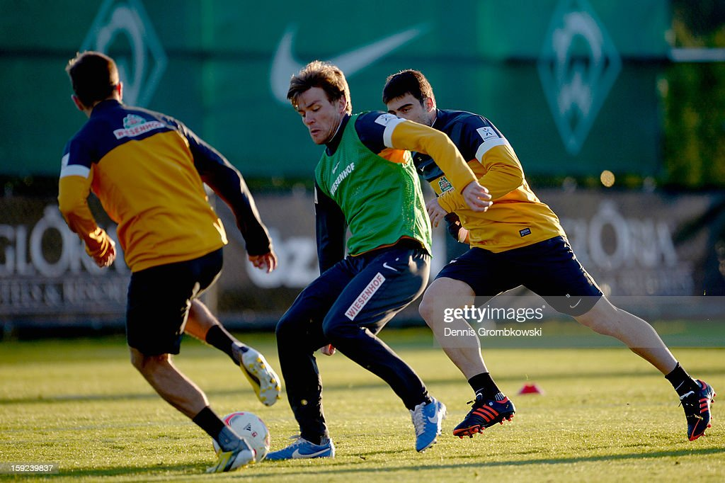 Clemens Fritz of Bremen controls the ball during a training session at day six of the Werder Bremen Training Camp on January 10, 2013 in Belek, Turkey.