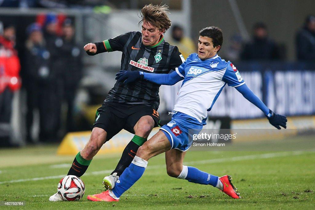 Clemens Fritz of Bremen is challenged by Tarik Elyounoussi of Hoffenheim during the Bundesliga match between TSG 1899 Hoffenheim and SV Werder Bremen at Wirsol Rhein-Neckar-Arena on February 4, 2015 in Sinsheim, Germany.