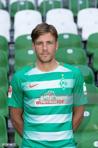 Clemens Fritz poses during the offical team presentation of Werder Bremen on July 20 2016 in Bremen Germany