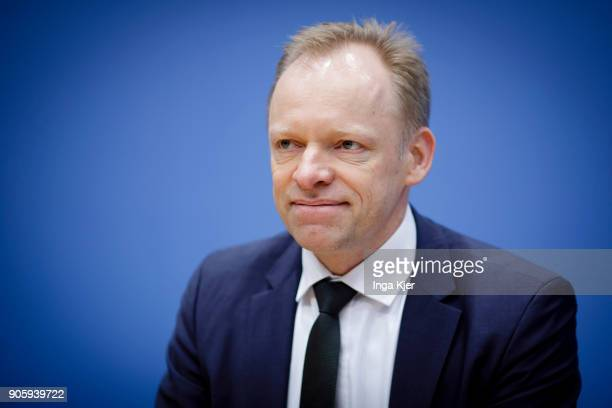 Clemens Fuest President of the Ifo Institute for Economic Research is pictured in a press conference on January 17 2018 in Berlin Germany