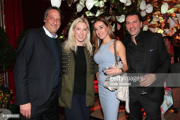Clemens Hagen and Kimberly Hoppe Ugo Crocamo and his girlfriend Melanie Fischer during Michael Kaefer's 60th birthday celebration at Postpalast on...