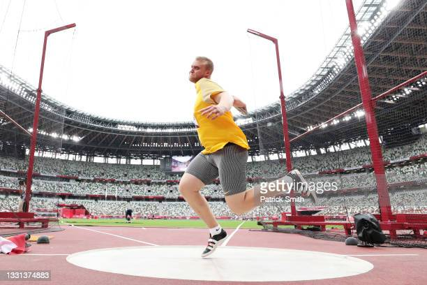 Clemens Prufer of Team Germany competes in the Men's Discus Throw Qualification on day seven of the Tokyo 2020 Olympic Games at Olympic Stadium on...