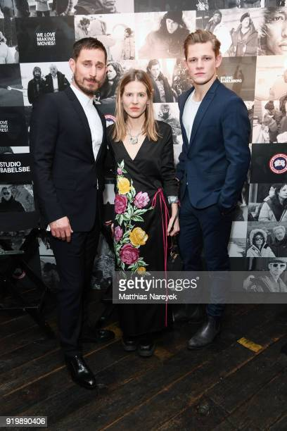Clemens Schick Aino Laberenz and Max von der Groeben attend the Studio Babelsberg Night X Canada Goose on the occasion of the 68th Berlinale...