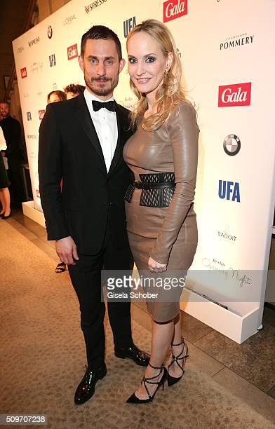 Clemens Schick and Anne Meyer-Minnemann, editor in chief of Gala, during the 'Berlin Opening Night of GALA & UFA Fiction' at Das Stue Hotel on...