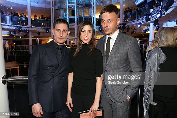 Clemens Schick Aylin Tezel and Tom Wlaschiha during the 'Vogue loves Breuninger' fashion event on March 18 2016 in Stuttgart Germany