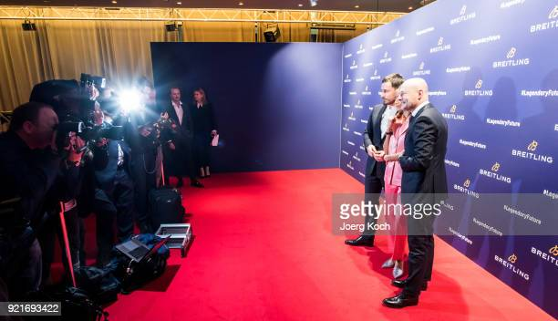 Clemens Schick Rabea Schif and BreitlingCEO Georges Kern attend the Breitling Roadshow '#LEGENDARYFUTURE' Navitimer 8 at Freiheizhalle on February 20...