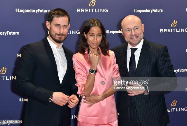 Clemens Schick Rabea Schif and BreitlingCEO Georges Kern during the Breitling Roadshow '#LEGENDARYFUTURE' Navitimer 8 at Freiheizhalle on February 20...