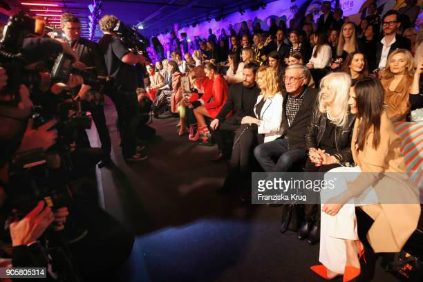 Clemens Schick Veronica Ferres Helmut Schlotterer his wife Ute Schlotterer and Bettina Zimmermann during the Marc Cain Fashion Show Berlin...