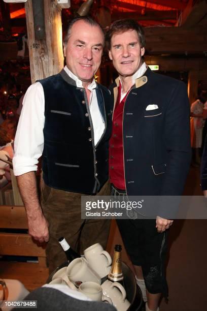 Clemens Toennies and Carsten Maschmeyer during the Oktoberfest 2018 at Kaeferschaenke tent at Theresienwiese on September 28, 2018 in Munich, Germany.