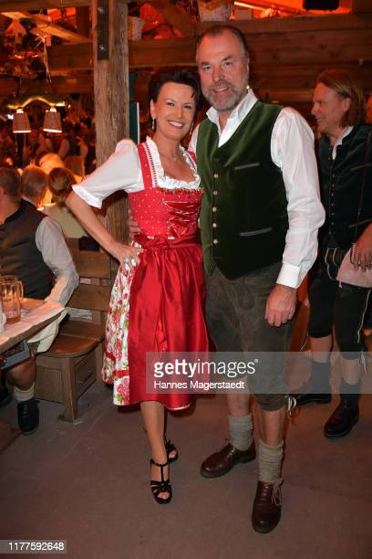 Clemens Toennies and his wife Margit Toennies at Kaefer Schaenke during the Oktoberfest 2019 at Theresienwiese on September 27, 2019 in Munich,...