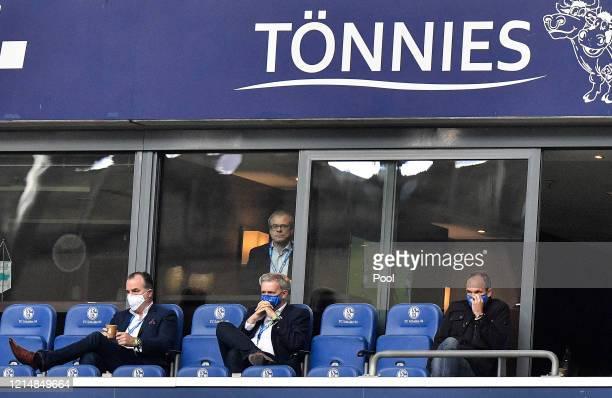 Clemens Toennies, Chairman of FC Schalke 04, Peter Peters, Managing Board member at FC Schalke 04 and Jens Buchta, Vice Chairman at FC Schalke 04...