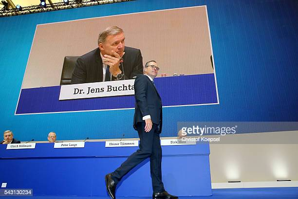 Clemens Toennies chairman of the board enters the stage after being voted during the FC Schalke 04 general assembly at Veltins Arena on June 26 2016...