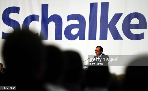 Clemens Toennies chairman of the supervisory board holds a speach during the Schalke 04 annual general meeting at Emscher Lippe Halle on June 19 2011...