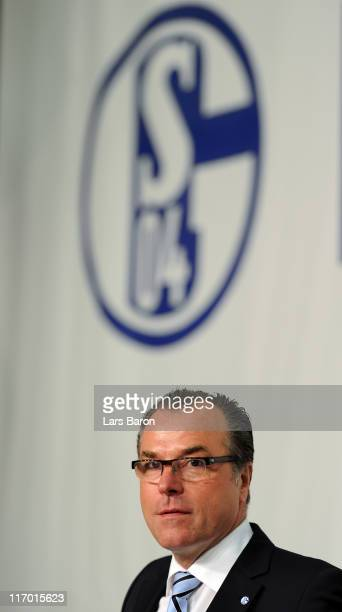Clemens Toennies chairman of the supervisory board looks on during the Schalke 04 annual general meeting at Emscher Lippe Halle on June 19 2011 in...