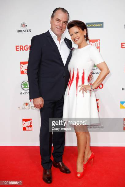 Clemens Toennies of Schalke and his wife Margit Toennies attend the Sport Bild Award on August 27, 2018 in Hamburg, Germany.