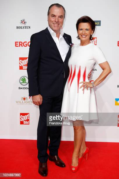Clemens Toennies of Schalke and his wife Margit Toennies attends the Sport Bild Award on August 27, 2018 in Hamburg, Germany.