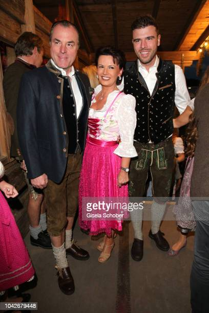 Clemens Toennies, president Schalke o4 and his wife Margit Toennies and their son Max Toennies during the Oktoberfest 2018 at Kaeferschaenke tent at...