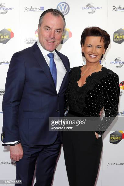 Clemens Toennies und his wife Margit Toennies attend the Hall Of Fame gala at Deutsches Fussballmuseum on April 01, 2019 in Dortmund, Germany.