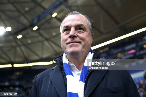 Clemens Tonnies, Chairman of FC Schalke 04 looks on prior to the Bundesliga match between FC Schalke 04 and RB Leipzig at Veltins-Arena on March 16,...