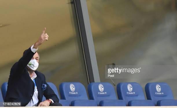 Clemens Tonnies, chairman of Schalke 04 reacts during the Bundesliga match between FC Schalke 04 and SV Werder Bremen at Veltins-Arena on May 30,...