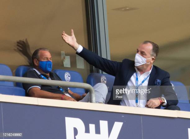Clemens Tonnies, Chairman of the FC Schalke 04 is seen in the stands during the Bundesliga match between FC Schalke 04 and SV Werder Bremen at...