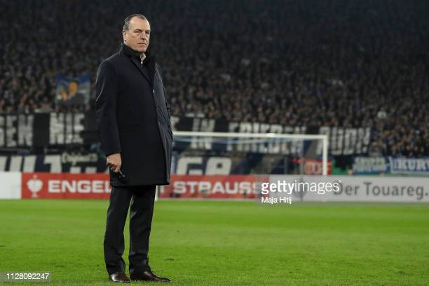 Clemens Tonnies chariman of the supervisory board at Schalke 04 looks on prior to the DFB Pokal Cup match between FC Schalke 04 and Fortuna...