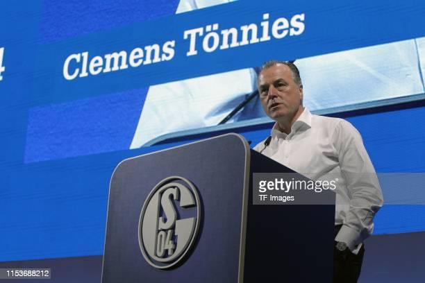 Clemens Tonnies of FC Schalke 04 look on during the FC Schalke 04 annual meeting at VeltinsArena on June 30 2019 in Gelsenkirchen Germany