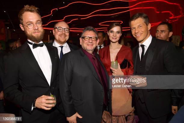 Clemens Trautmann , UMG CEO Sir Lucian Grainge , Hildur Guðnadóttir and Frank Briegmann of UMG attend the Universal Music Group's 2020 Grammy after...