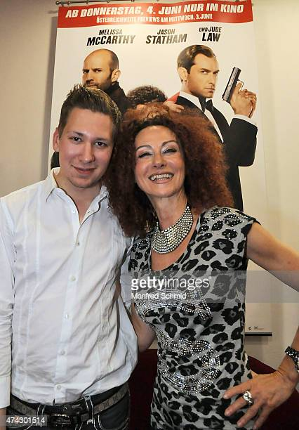 Clemens Trischler and Christina Lugner pose during the Vienna premiere for the film 'Spy Susan Cooper Undercover' at Lugner Lounge Kino on May 21...