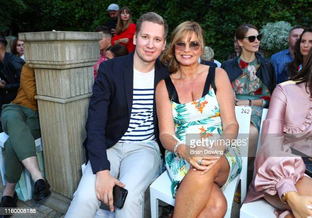 Clemens Trischler and Maren Gilzer at the Marcel Ostertag Fashion Show during the Berlin Fashion Week Spring/Summer 2020 at Westin Grand Hotel on...