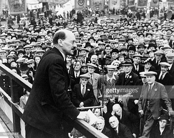 Clement Attlee , Labour politician, speaking at a political rally, 24 July 1938. Photograph by B Marshall. Clement Attlee , Labour politician,...