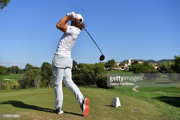 Clement Berardo of France plays his tee shot on the 7th hole during Day Two of the Hopps Open de Provence at Golf International de Pont Royal on...
