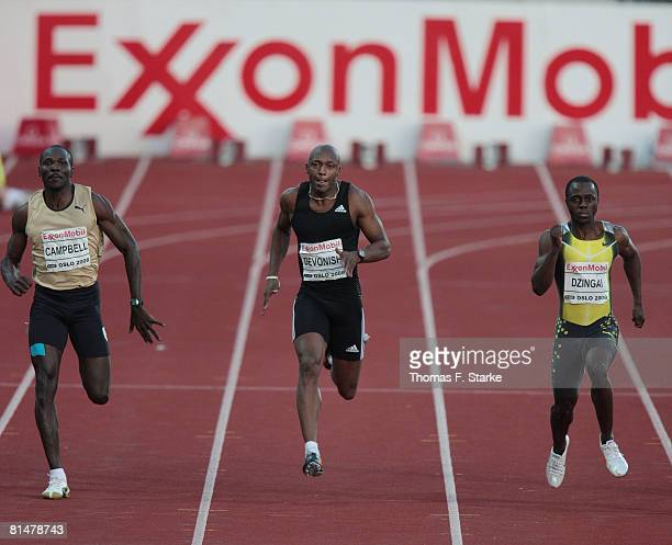 Clement Campell of Jamaica Marlon Devonish of Great Britain and Brian Dzingai of Zimbabwe compete in the 200m men Promotion during the AF Golden...