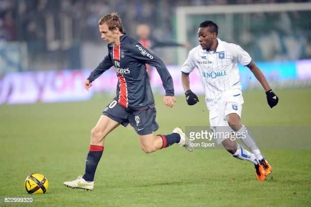 Clement CHANTOME / Alain TRAORE Auxerre / PSG 26eme journee de Ligue 1 Auxerre