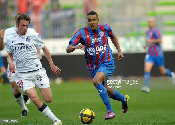 Clement CHANTOME / Youssef EL ARABI Caen / PSG 30eme journee de Ligue 1