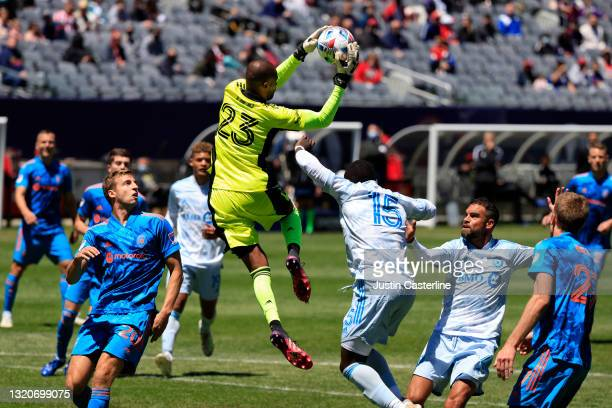 Clement Diop of CF Montreal catches the ball in the game against the Chicago Fire during the first half at Soldier Field on May 29, 2021 in Chicago,...