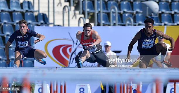 Clement Foucat from France Jan Ruhrman from Germany and Ludovic Besson from France compete in men's 110 hurdles decathlon during the IAAF World U20...