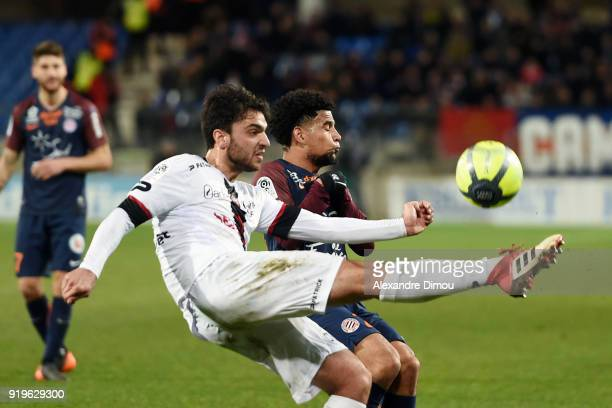 Clement Grenier of Guingamp and Keagan Dolly of Montpellier during the Ligue 1 match between Montpellier Herault SC and EA Guingamp at Stade de la...