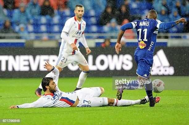 Clement GRENIER of Lyon and Lenny Nangis of Bastia during the Ligue 1 match between Olympique Lyonnais and SC Bastia at Stade de Gerland on November...