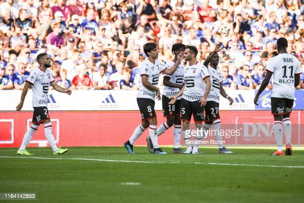 Clement Grenier of Rennes Eduardo Camavinga of Rennes Jeremy Morel of Rennes and Hamari Traore of Rennes during the Ligue 1 match between Strasbourg...