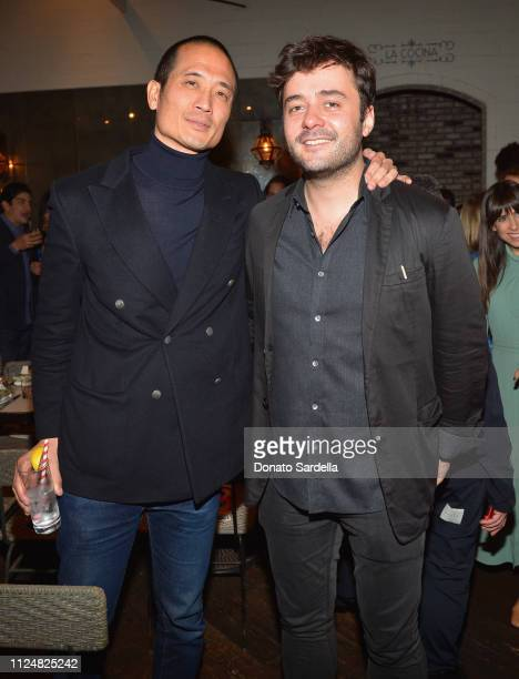 Clement Kwan and Justin Stenwix attend Liz Goldwyn and MATCHESFASHIONCOM celebrate the launch of Frieze LA at Gracias Madre on February 13 2019 in...