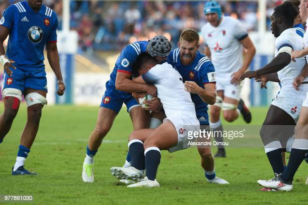 Clement Laporte and Maxime Marty of France during the Final World Championship U20 match between England and France on June 17 2018 in Beziers France