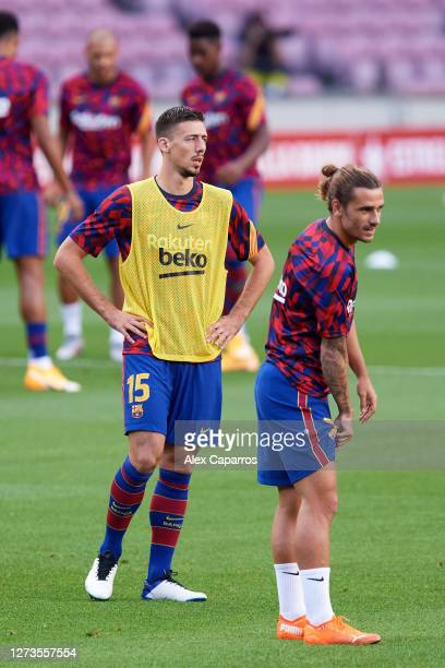 Clement Lenglet and Antoine Griezmann of FC Barcelona look on during warm up before the Joan Gamper Trophy match between FC Barcelona and Elche CF on...