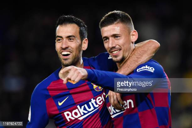 Clement Lenglet celebrates his goal with Sergio Busquets of FC Barcelona during the Spanish King Cup match between Barcelone and Leganes at Camp Nou...