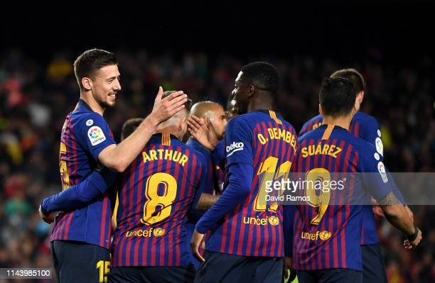 Clement Lenglet of Barcelona celebrates with team mates after he scores his sides first goal during the La Liga match between FC Barcelona and Real...