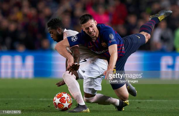 Clement Lenglet of Barcelona competes for the ball with Fred of Manchester United during the UEFA Champions League Quarter Final second leg match...