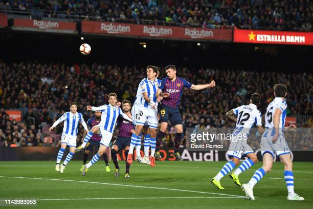Clement Lenglet of Barcelona scores his sides first goal during the La Liga match between FC Barcelona and Real Sociedad at Camp Nou on April 20 2019...